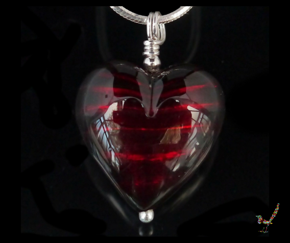 jewellery, jewelry, murano glass, necklace, silver, sterling silver, ruby, red, heart, gift, Venice, pendant