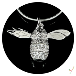 bee necklace, silver bee necklace, sterling silver bee necklace, necklace, silver necklace, bumble bee necklace, bee, Manchester bee