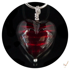 murano glass, heart necklace, heart, murano glass necklace, gift, murano glass heart necklace, handcrafted jewellery