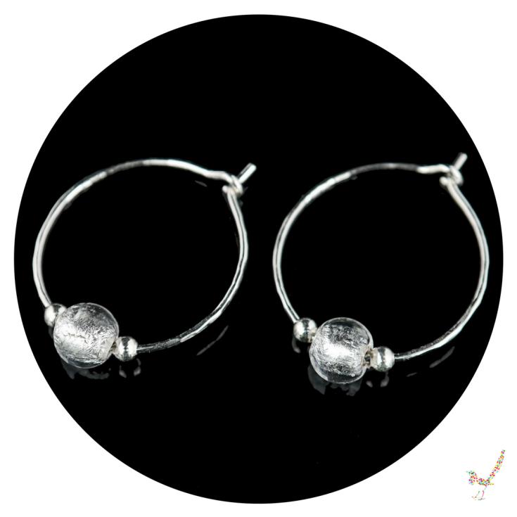 hoop earrings, silver hoop earrings, murano glass earrings, earrings