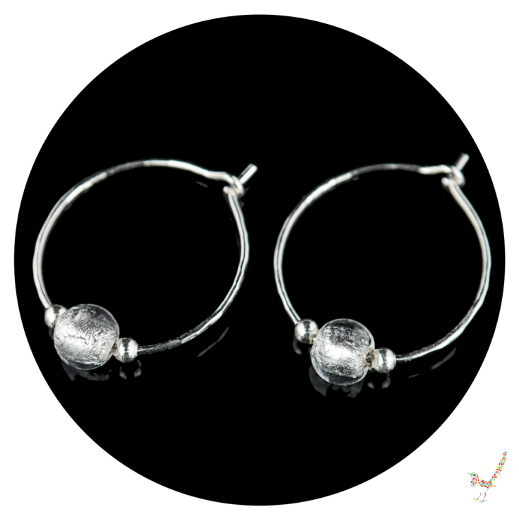 hoop earrings, silver hoop earrings, murano glass earrings, earrings