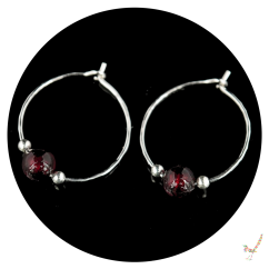 Darkest Ruby Red Murano Glass Hoop Earrings