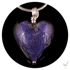 Purple Velvet Murano Glass Heart Necklace