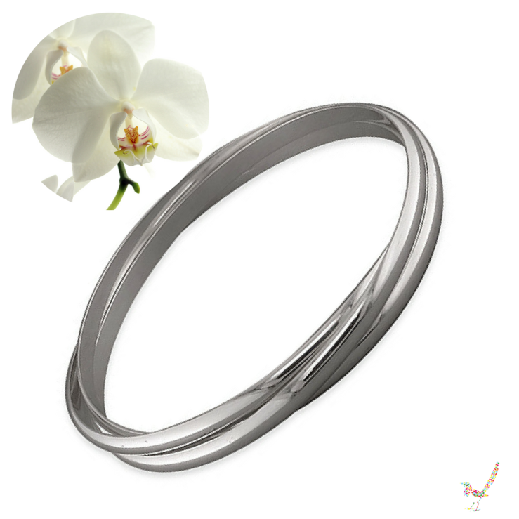 Solid Sterling Silver Triple Russian Bangle