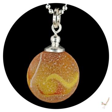 orange sea glass marble necklace, sea glass necklace, sea glass, sea glass jewellery, sterling silver, sea glass marble