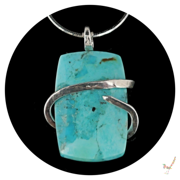 turquoise necklace, turquoise pendant, kingman turquoise, sterling silver, genuine turquoise